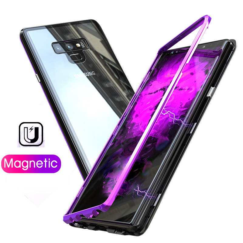 Magnetica di lusso Del Respingente Del Metallo di Caso Per Samsung galaxy Note 9 Note9 Magnet cover Per Samsung S9 S8 Più la Cassa Trasparente di vetro