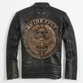 FREE SHIPPING 2017 New Men Skull Leather Jacket Black Stand Collar Genuine Cowhide Embroidery Designs Men Slim Fit Biker Coat