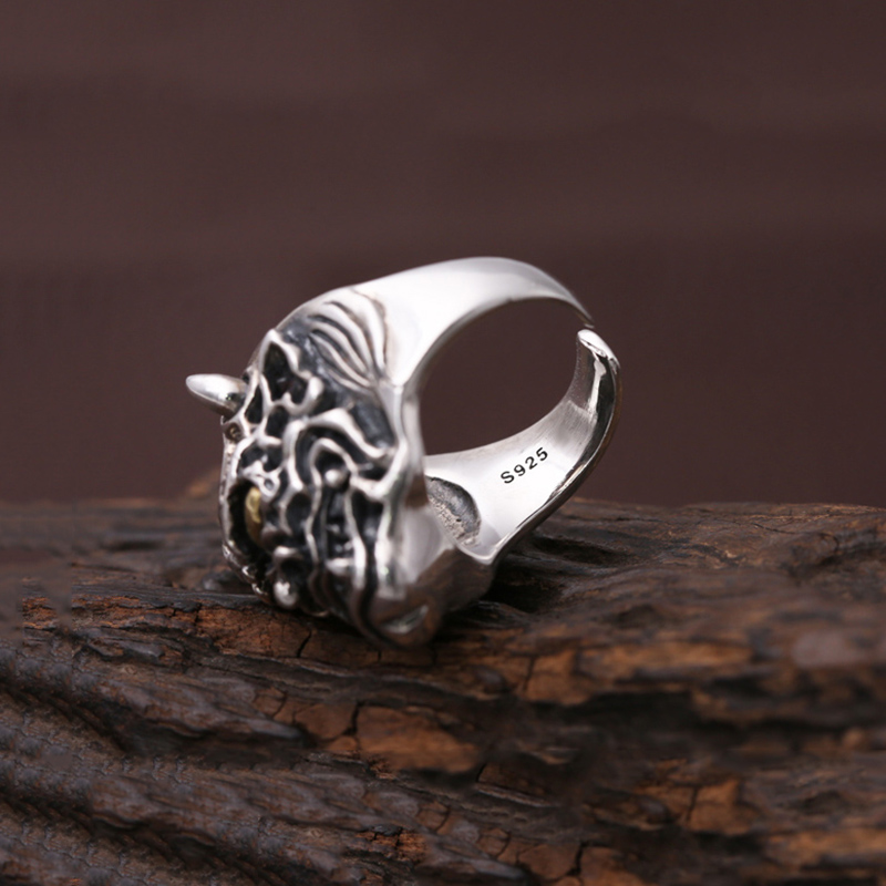Men Opening ring 100% Real 925 sterling silver Punk Rock Prajna masks devil Christmas Gift Adjustable Ring Men jewelry MR5-in Rings from Jewelry & Accessories    3