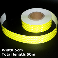 50m*5cm High Intensity Reflective Strip Stickers for Car Styling Truck Motorcycle Decoration Yellow Safety Warning Adhesive Tape
