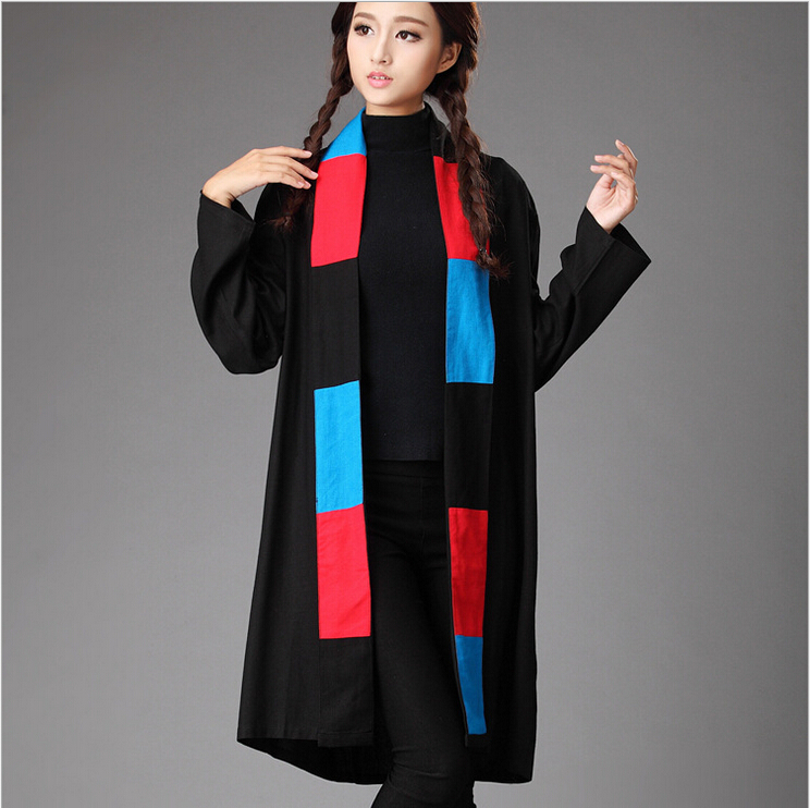Spring and autumn original design pure linen patchwork contrast color trench coat large size tippet cappa literary cape cloak