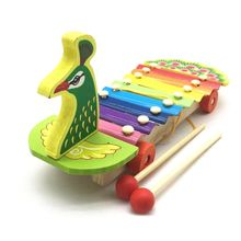 Children Kids Wooden Peacock Trailer Piano Colorful Cute Percussion Toy Early Learning Education Music Instrument Gift colorful classical peacock wooden hairpin
