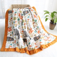 4pcs/lot 6 Layers wide bordure cotton baby muslin blanket newborn swaddle blanket unicorn stroller cover baby receiving blanket