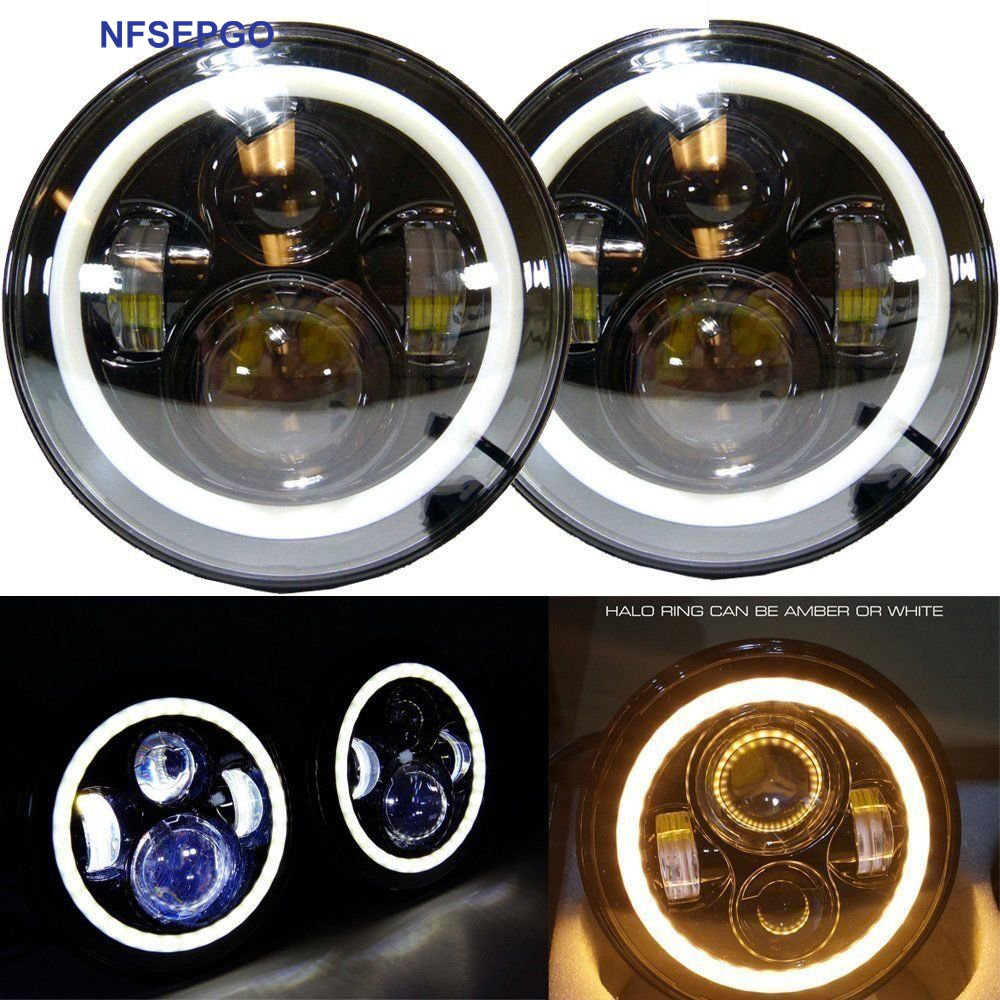 Nfsepgo 7 Inch Round Led Headlight With Halo Angel Eye