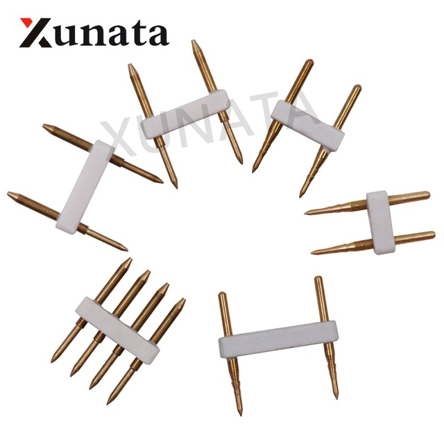 10PCS 2 Pin / 4 Pin Connector Recommend Accessory Copper Pins Single Color RGB 110V 220V LED Strip Dropshopping