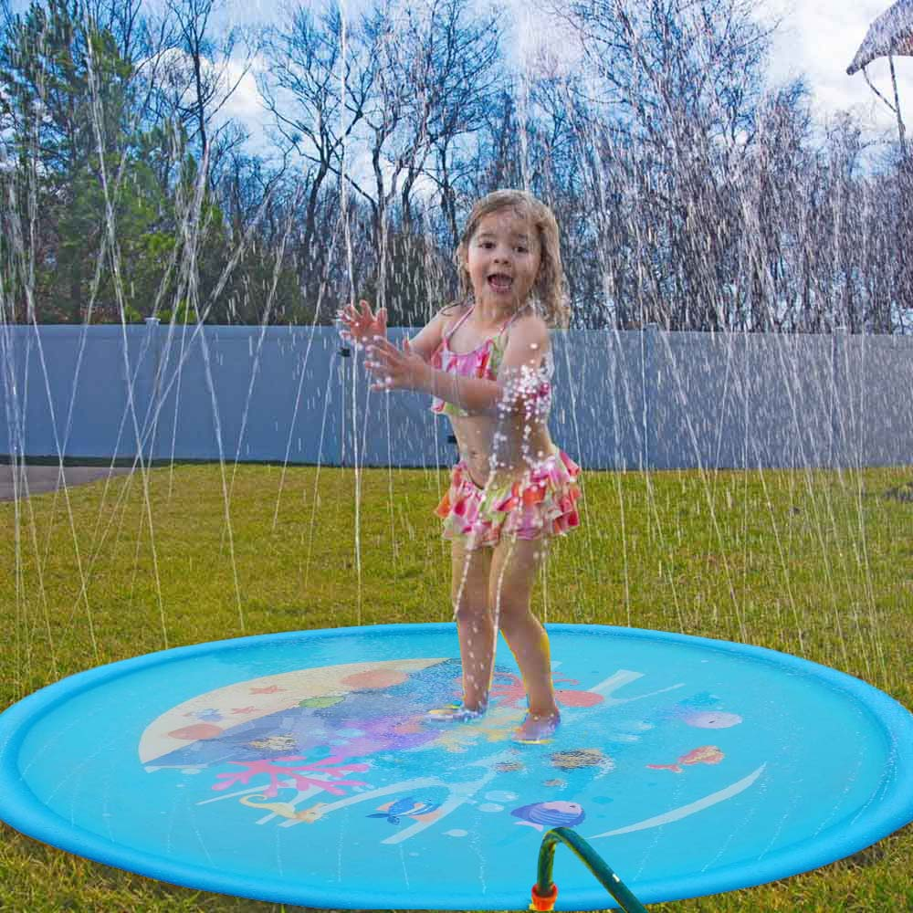 Summer Outdoor PVC Inflatable Blanket Water Spray Pad Blue Whale Toys Sprinkler Grass Beach Game Pad Toy For Child