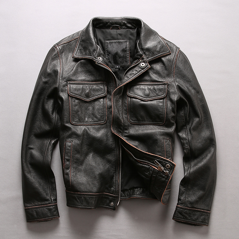 european big size high quality super genuine cow leather motor rider jacket mens big size cowhide leather jacket NF-1832