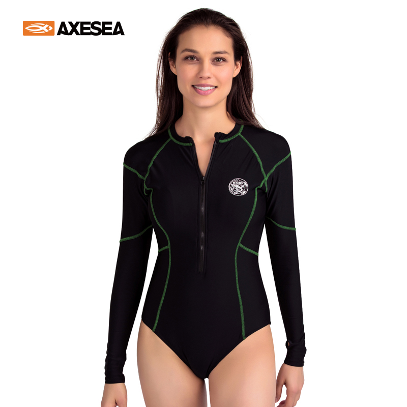 AXESEA Women Rash Guard Long Sleeve Swimwear One Piece Swimsuit Surfing Sun Protection Front Zipper Solid