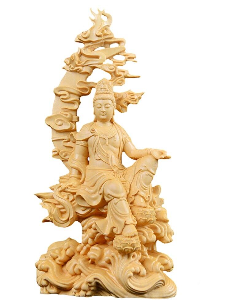 Sculpture sur bois petits ornements bijoux en bois massif bouddha sculpture artisanat collections eau lune Guanyin lucky