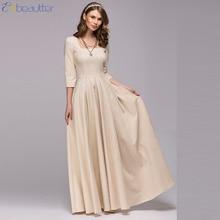 Enbeautter Старинные женщин платье площади воротник три четверти, которую давно платье элегантный партии платье Весна зима новые платья мода