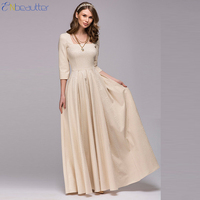 ENbeautter Vintage Women S Dress Square Collar Three Quarter Long Dress Elegant Party Dress Spring Winter