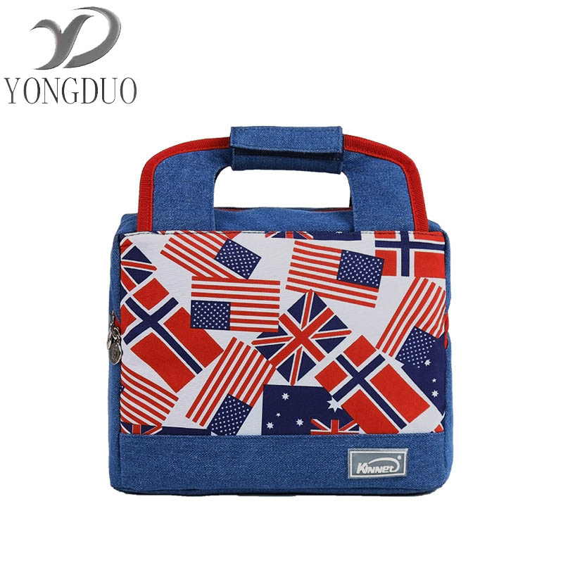 wxfbbaby Lunch Bags 2018 For Student office workers Thicken Portable Lunchbox Thermal Insulated Cooler Bag Denim Bolsa Termica denim lunch bag kid bento box insulated pack picnic drink food thermal ice cooler leisure accessories supplies product