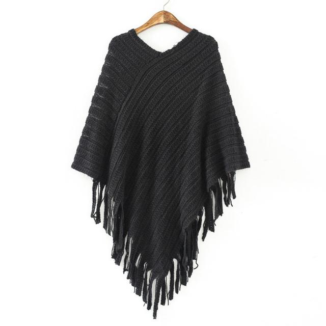 Manga batwing borla hem tricô tricot poncho capa manto camisola 2017 mulheres caem de moda Outono inverno jumper de malha desgaste