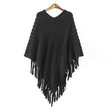 batwing sleeve tassel hem knitting cloak sweater 2016 women fall fashion tricot cape poncho Autumn winter jumper knitted wear