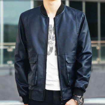 Spring Autumn Male Stand Collar Leather Jackets Pu Coats Men Motorcycle Biker Outerwear Men Fall Faux Leather Jacket mens leather jackets 2020 autumn winter new casual motorcycle pu faux leather jacket male biker leather coats windbreaker jacket