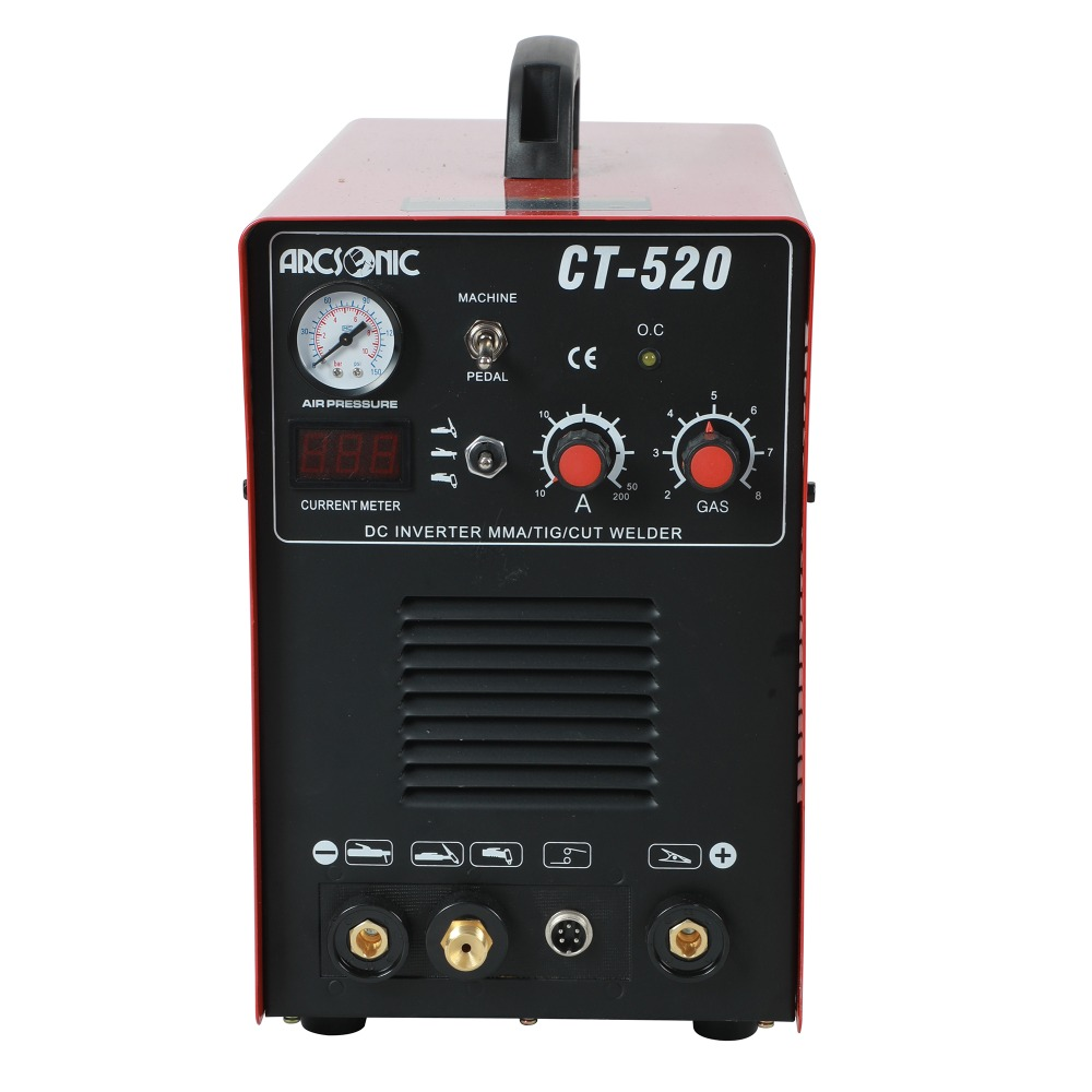 IGBT 3 in 1 CT520D welding machine CUT 50Amps TIG 200Amps MMA 200Amps welding cutting 190V-250V clean cutting thickness 12mm