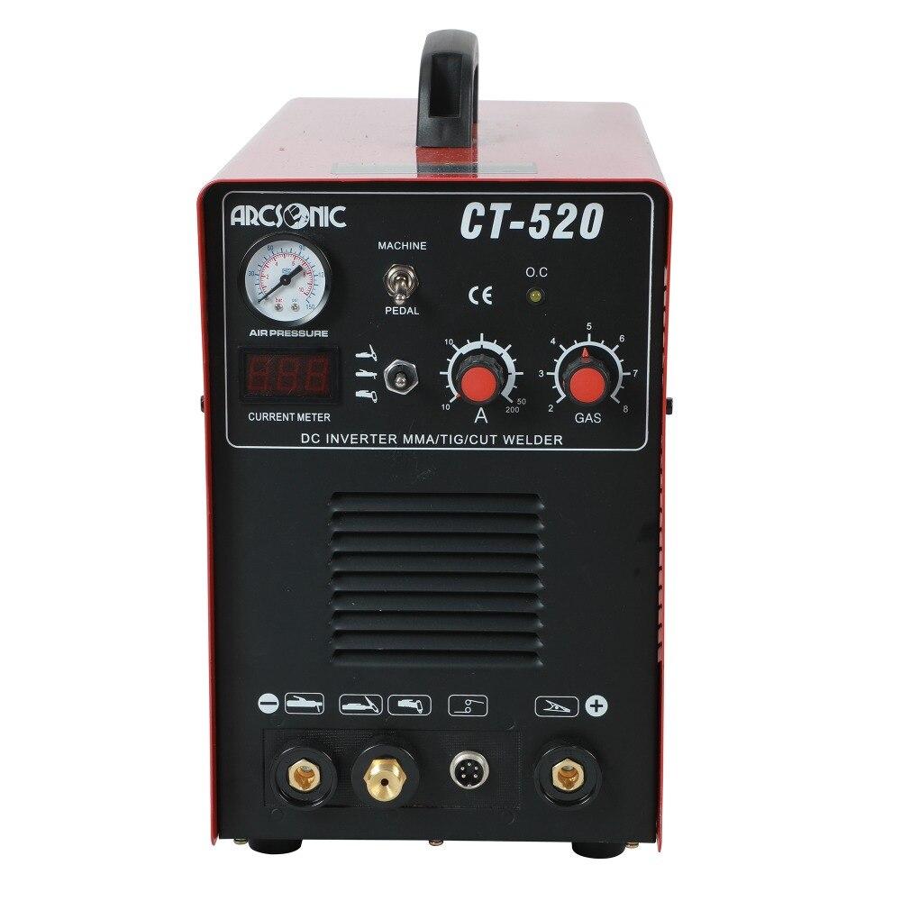 IGBT macchina di saldatura 3 in 1 CT520D CUT 50 Amps TIG 200 Amps MMA 200 Amps saldatura di taglio 190 v -250 v taglio pulito spessore 12mm