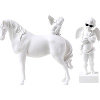 WU CHEN LONG Roman Mythology White Cupid Angel Horse Figurines Statue Resin Crafts Home Decoration Accessories R1762