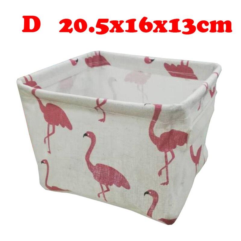 Настольный ящик для хранения с милым принтом, водонепроницаемый органайзер, хлопок, лен, корзина для хранения мелочей, шкаф, нижнее белье, сумка для хранения - Цвет: D