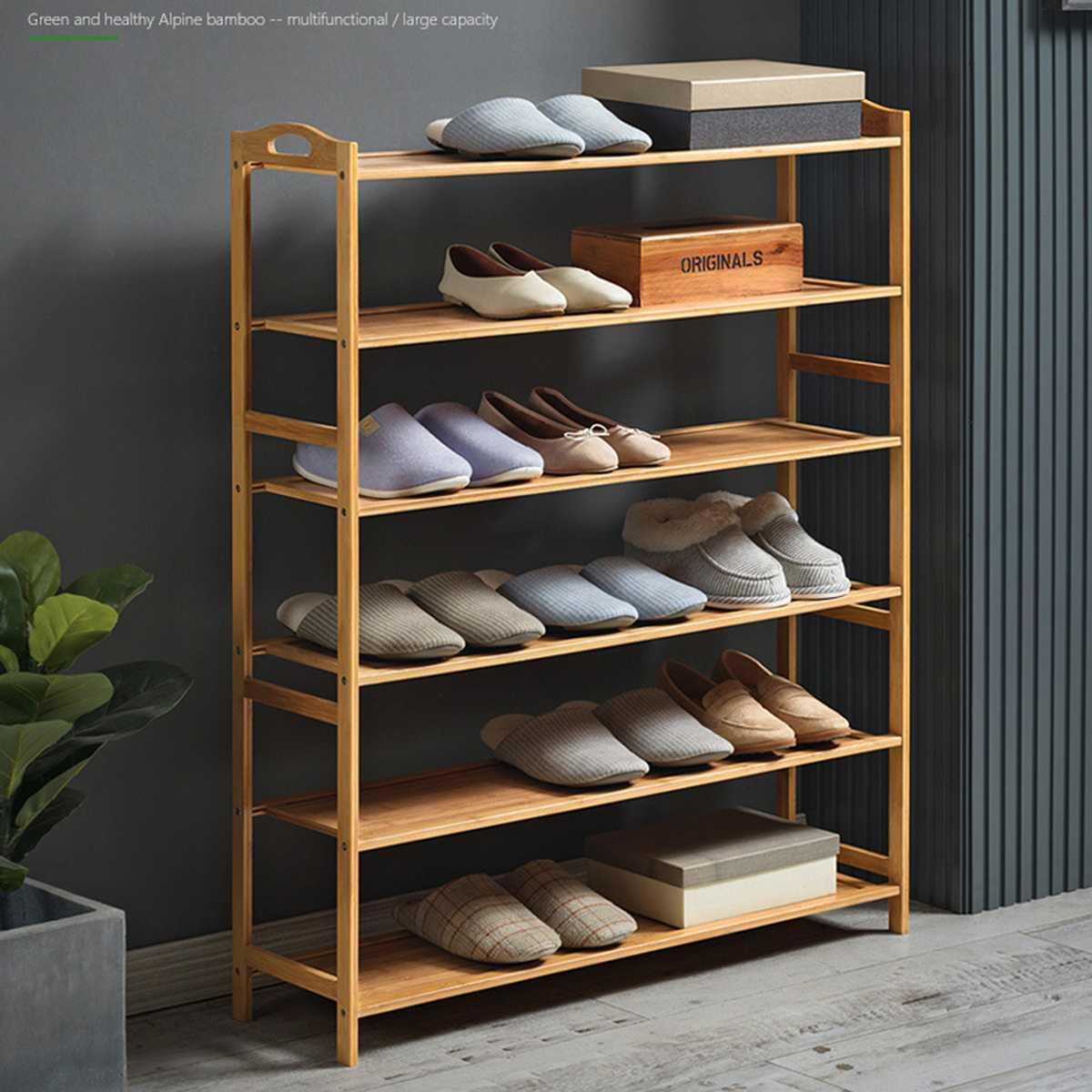 3/4/5/6 couche étagère à chaussures organisateur bambou chaussure Stand étagère de rangement maison porte multi-couche Simple étanche à la poussière armoire à chaussures