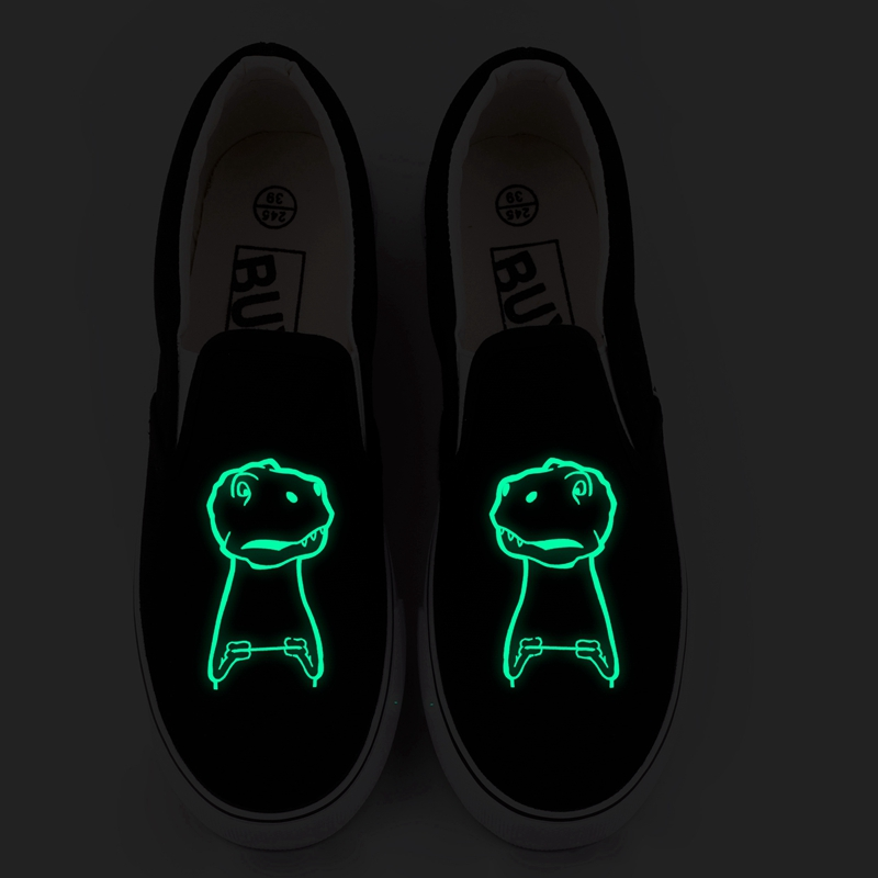Top marque lueur effet toile chaussures hommes Graffiti drôle Animal Dragon imprimé lumineux mocassins décontracté plat marche chaussures sans lacet