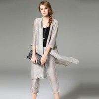 Ternos Das Mulheres de Três Peças Conjunto de 30% de Seda de 70% Linho Tecido High-end Bezerro-comprimento Calças Simples Design New Estilo elegante do Outono de 2017