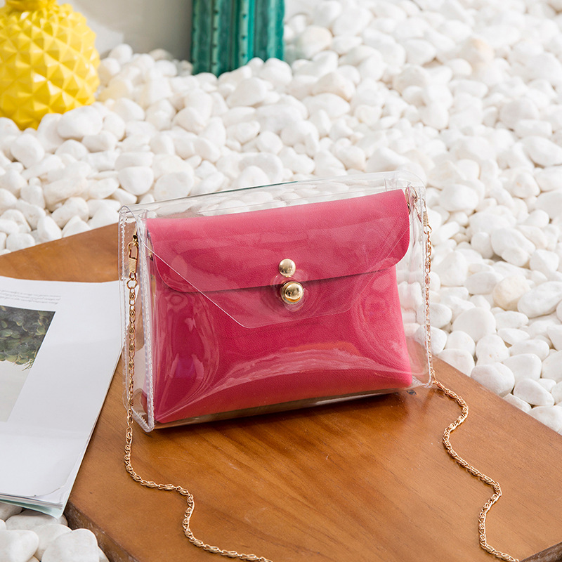 Women Bag In The Package Transparent Small Square Bag Shoulder Diagonal Package Ladies Jelly Package Small Fresh Buckle 260