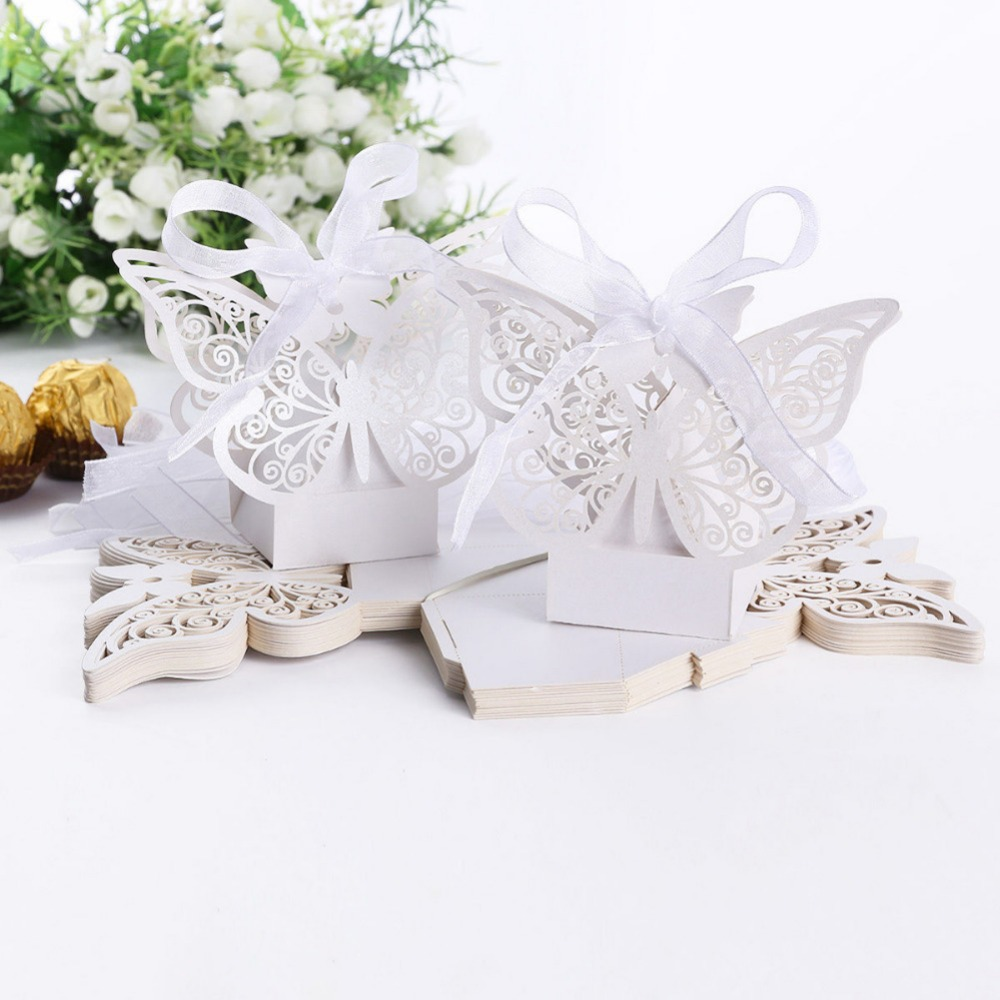 KAZIPA 50pcs White Laser Cut Romantic DIY Butterfly Candy Boxes Gift ...