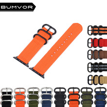 BUMVOR Nylon Watchband for iWatch Apple Watch 40/44MM 38/42MM Zulu Band Fabric Strap Wrist Belt Bracelet Black Blue Brown Green цена
