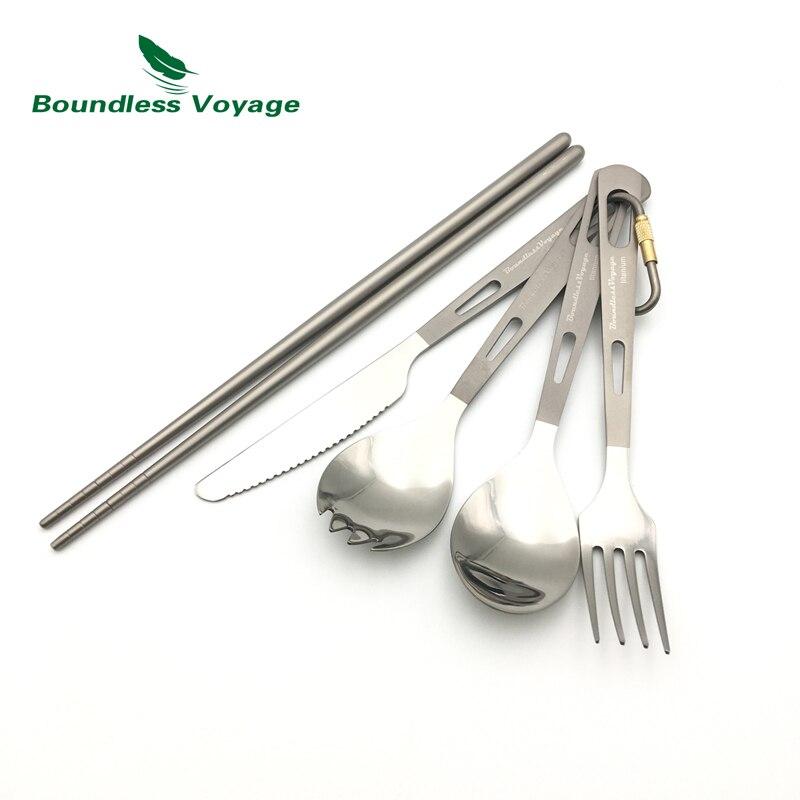 Voyage sans bornes titane couteau Spork cuillère fourchette baguettes 5 pièces ensemble extérieur Camping vaisselle couverts