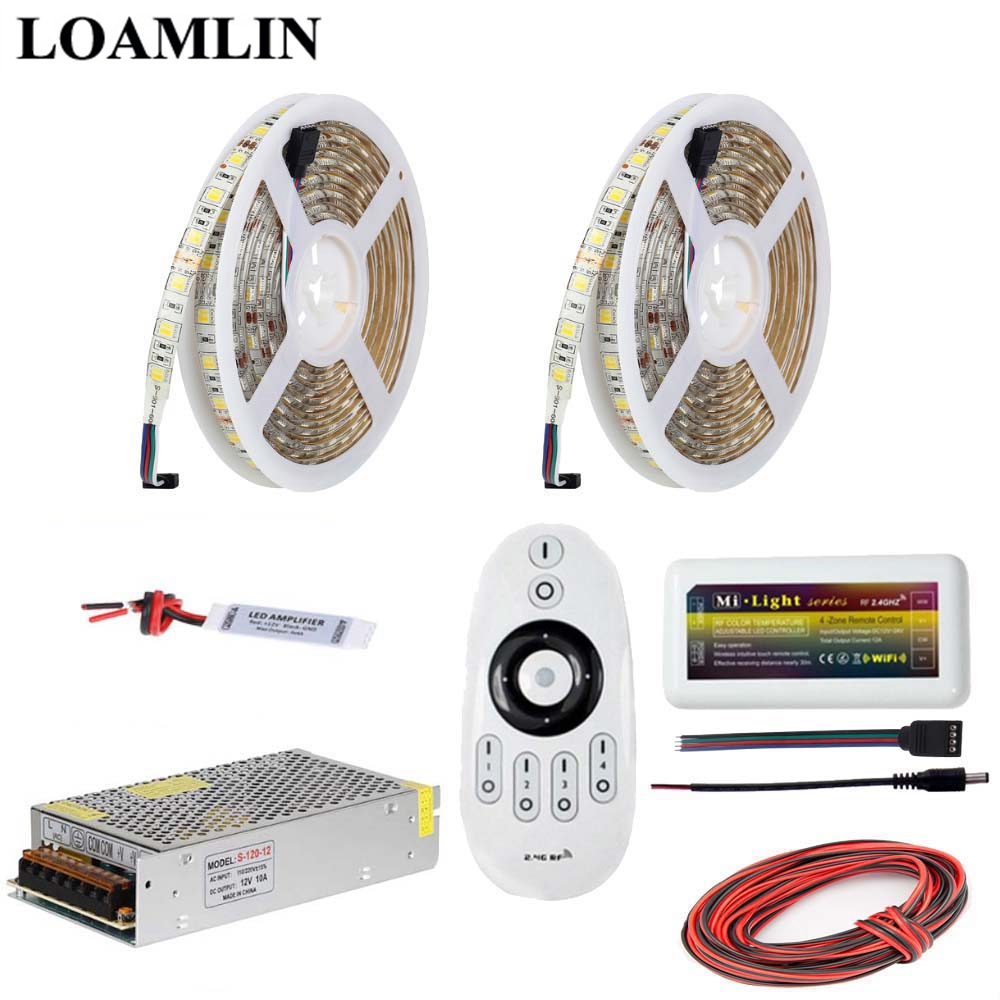 5メートル10メートル15メートル20メートルledストリップライト5050smd色温度(cct)、2.4グラムmilightリモートledコントローラー電源アダプタ電源dc12vキット  グループ上の ライト & 照明 からの LED ストリップ の中 3