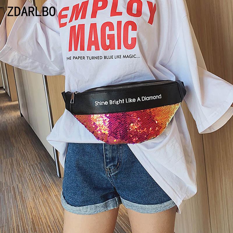 Women's Bright Leather Belt Bag Laser Belt Bags Designer Fashion Fanny Pack Female Shoulder Crossbody Chest Bag Banana Hip Purse