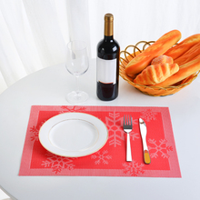 12*18 in PVC Placemat Heat-resistant Woven Stain-resistant Anti-skid Washable Dining Table Mats Placemats for Christmas