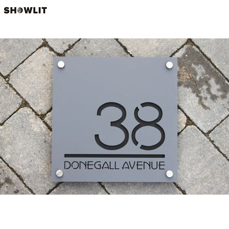 House Number Plate In Stainless Steel with mounting Spacers