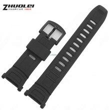 Los nuevos Mens negro de goma de silicona impermeable deportivo reloj de pulsera correa de la banda PRG-130Y