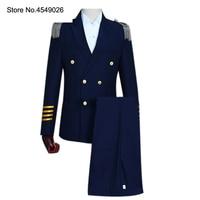 2 Pieces Mens Captain Suits Latest Coat Pant White Navy Blue Double Breasted Men Groom Wedding Suit Blazer Slim Fit Party Jacket