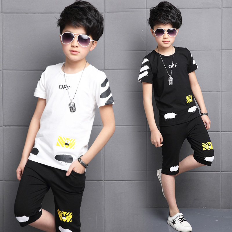 2 pcs sets boys black white t shirts & shorts pants sets kids summer set boy clothes kid summer suits for boys children clothing 017 summer baby boys clothing set kids clothes toddler boy short sleeved t shirts shorts girls clothing sets for kid