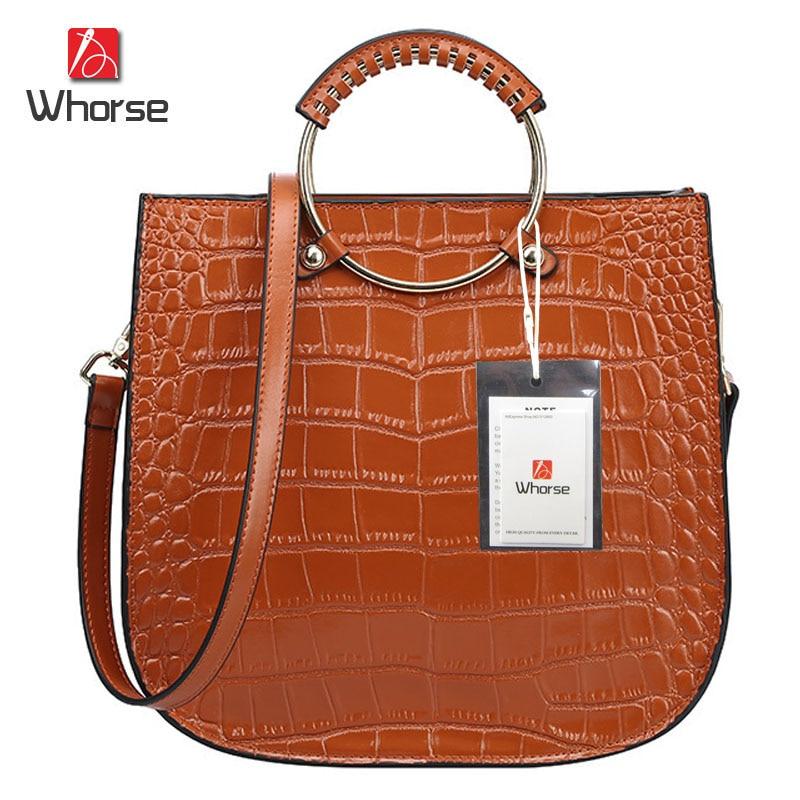 ФОТО [WHORSE] Brand Logo Crocodile Designer Dandbags High Quality 2017 Genuine Leather Women Messenger Bags Handbag With Ring Handle