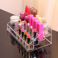 Monokweepjy Acrylic Makeup Organizer 16 Grids Cosmetic Storage Box Lipstick Desk Organizador Jewlry Rangement