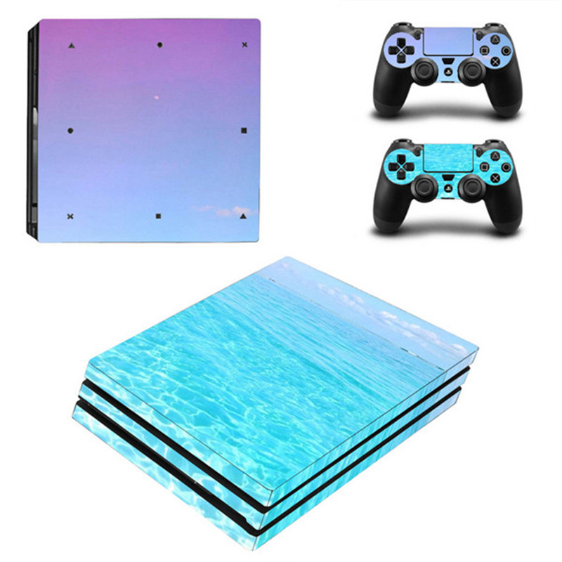 For Sony Playstation 4 Pro Game Console Bright Color Vinyl Skin Sticker Protector +2PCS Controller Skin Decal Cover For PS4 Pro
