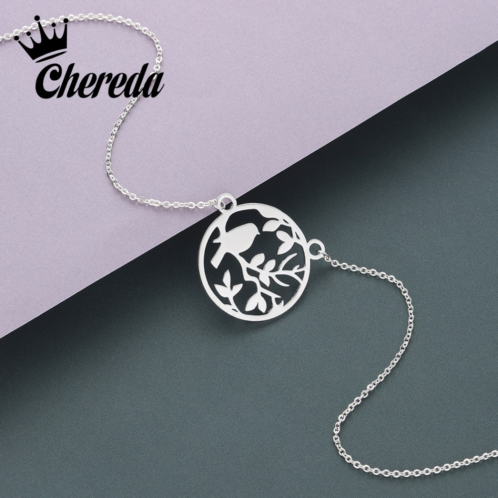 Chereda Cute Bird Tiny Chain Necklace Silver Round Hollow Mothers Pendant Wedding Party Gift Jewelry