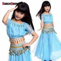 Menina Traje de Dança Do Ventre 6 pcs (Top + Saias + Cadeia de Cintura + Véu + Headwear + Pulseiras) crianças Terno de Dança Roupas de Dança Frete Grátis