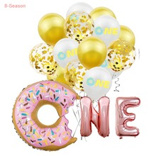 8-Season 16 Rose Gold Letter One Balloons Donut Theme 1st Birthday Candy Favors Baby Shower Party Decoration