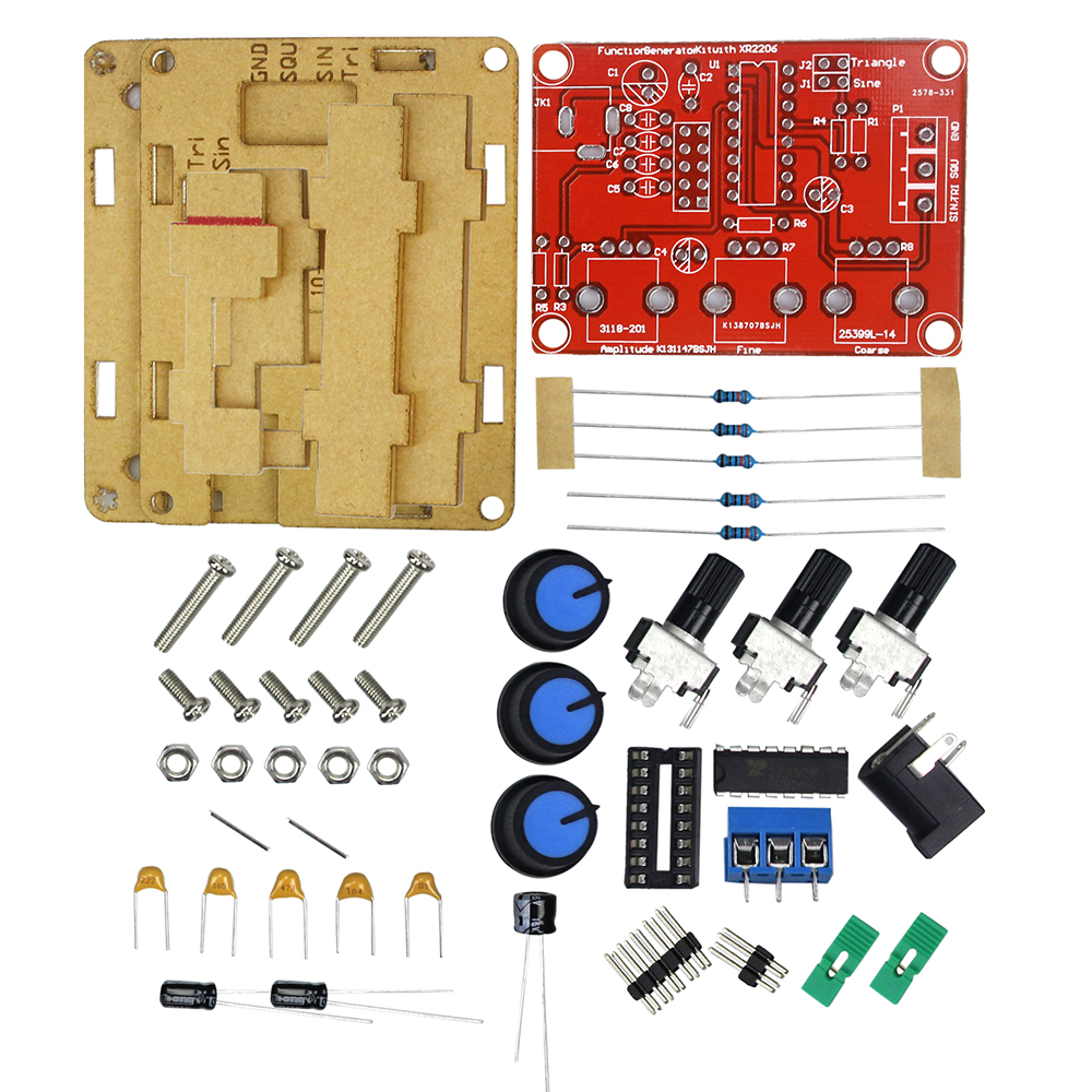 Function Signal Generator DIY Kit Sine/Triangle/Square Output 1Hz-1MHz Signal Generator Adjustable Frequency Amplitude XR2206
