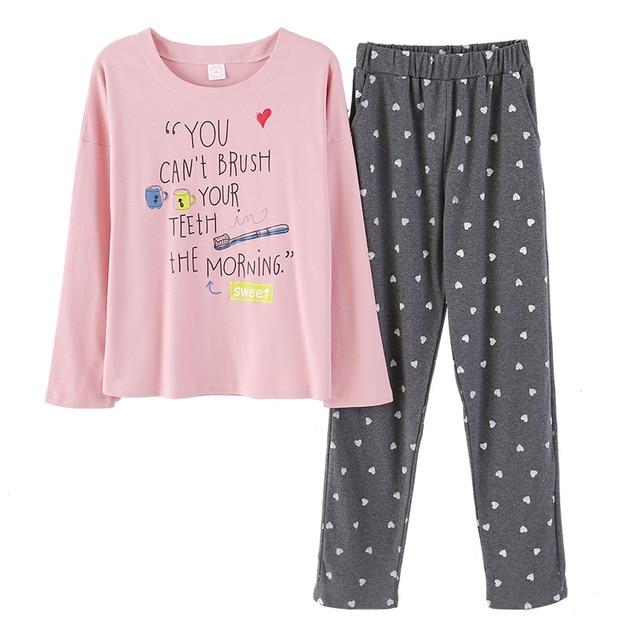 Alphabet Top and dot pants women cotton pajamas set Chinese style pyjamas  suit 2 Pcs Sleepwear ladies Nightwear M L XL XXL 9db2dd377