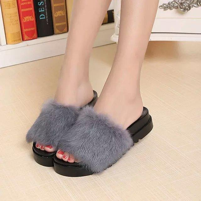 2016 Summer Womens Fur Slippers Rabbit Hair Thick Bottom -3669