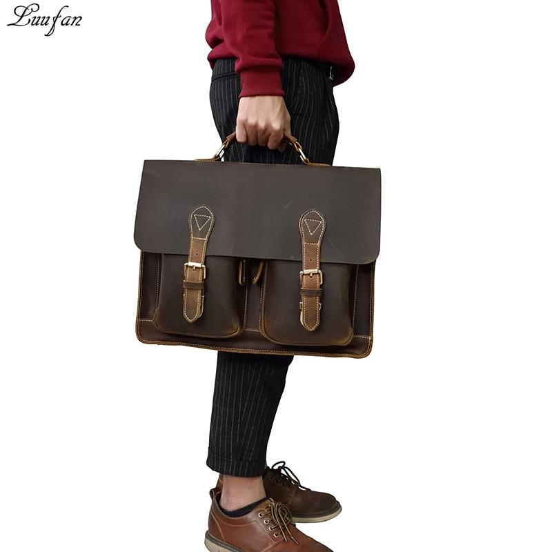 Vintage Crazy Horse Genuine Leather Men Briefcase 14 Inch Laptop Handbag Large Shoulder Messenger Portfolio Bag Business Case