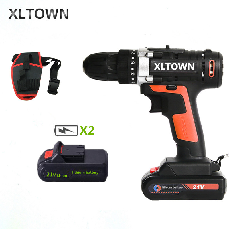 XLTOWN 21v multi function cordless electric screwdriver with 2 battery high power rechargeable lithium battery drill