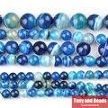 Envío Libre de Piedra Natural Blue Stripe Agate Granos Flojos Redondos 4 6 8 10 12 MM Tamaño de la Selección Para La Fabricación de Joyas SAB2