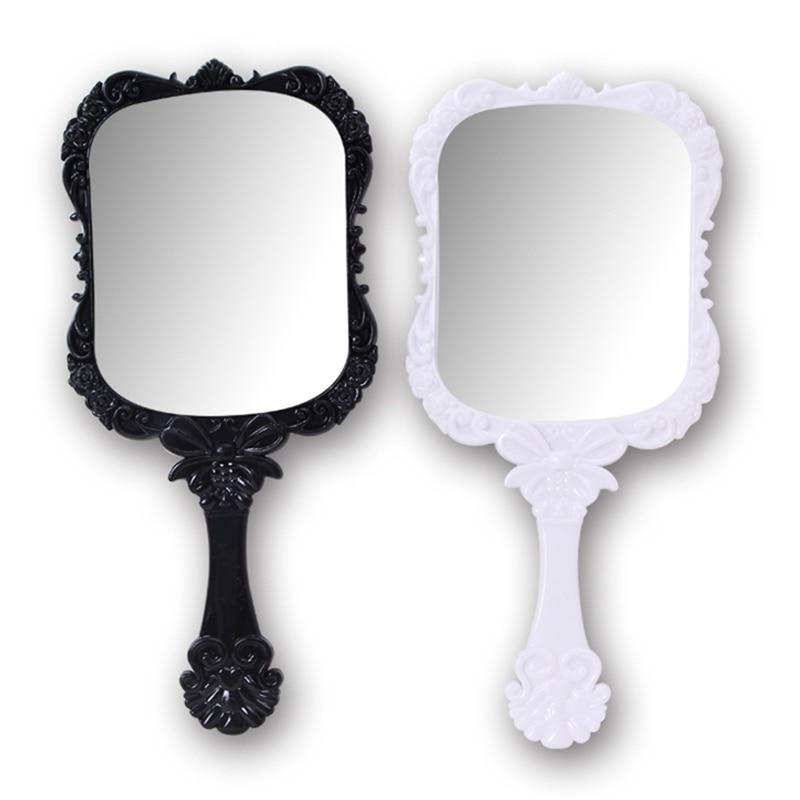 2018 1pcs Cute 2Color Black White Makeup Mirror Plastic Vintage Hand  Held Portable Cosmetic Mirrors Retro Pattern Beauty Mirror